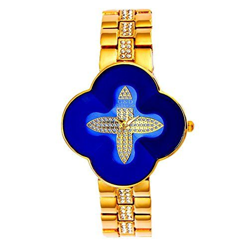 harwish Damen Stahl Armband Quarz mit Diamant Zifferblatt kreuzförmige Kleid Armbanduhren Blau - http://uhr.haus/harwish/harwish-damen-stahl-armband-quarz-mit-diamant