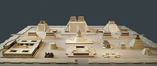 A model reconstruction of the sacred precinct of Tenochtitlan, the Aztec capital on Lake Texcoco. The city was founded in 1345 CE and fell to the Spanish forces led by Cortés in 1521 CE. The sacred complex...