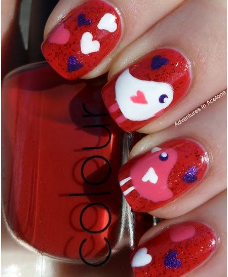 Love Bird Nail Art Design this would be cute for Sweetest Day