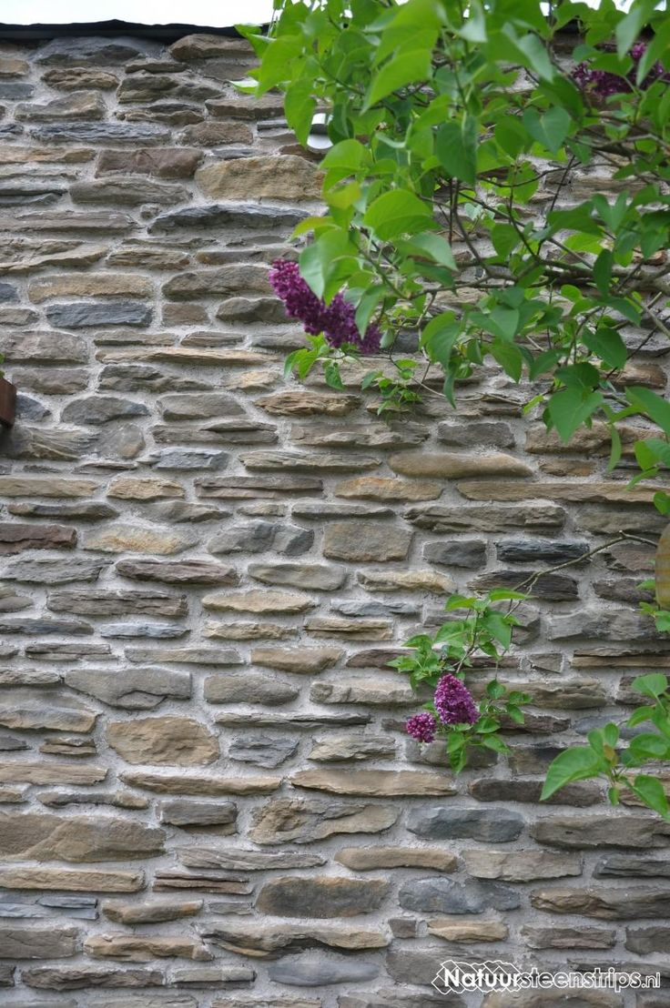 Tuinmuur bekleed met Blumone Steenstrips kleur MT en GT mix.