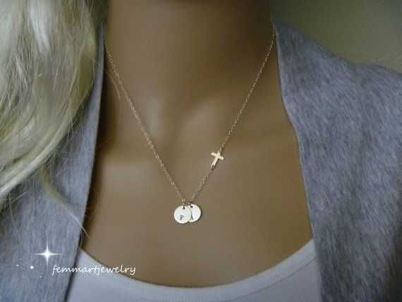 Sideways Cross Necklace and Initial Necklace in one. Two Coin Disc with Tiny Cross Sideways Charm. Available with 2 - 6 disc or more.