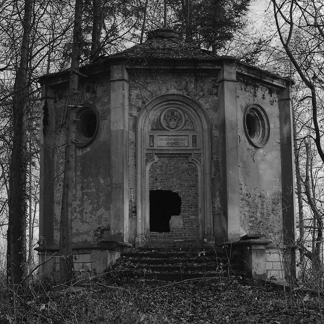 Family mausoleum in a park.