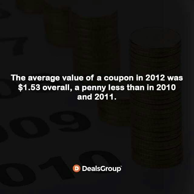 The average value of a coupon in 2012 was $1.53 overall, a penny less than in 2010 and 2011. #HistoryofCoupons #StatisticsofCoupons