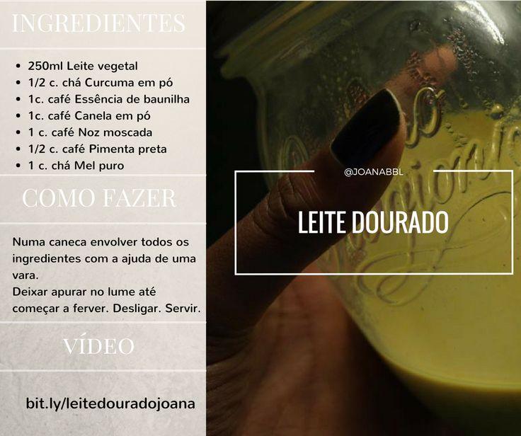 Leite dourado | Joanabbl  250ml leite vegetal 1/2 curcuma em pó  1/8 essência de baunilha  1/8 canela em pó  1/8 noz moscada  1 colher de chá de mel puro