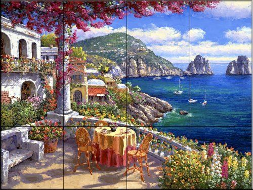 Wonderful Tuscan Scene Wall Tiles | ... Wall Tile Mural Waterview Tile Murals Are  Great
