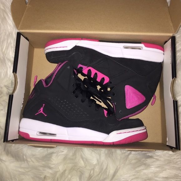 Nike jordans | jordan flights Black and pink. In immaculate condition. Like new. I looooove these i just dont know what to wear them with. Black is a velvet texture. Soles arent even scuffed at all. Size youth girls 5. Which is like a womans 6. Box included Jordan Shoes Sneakers