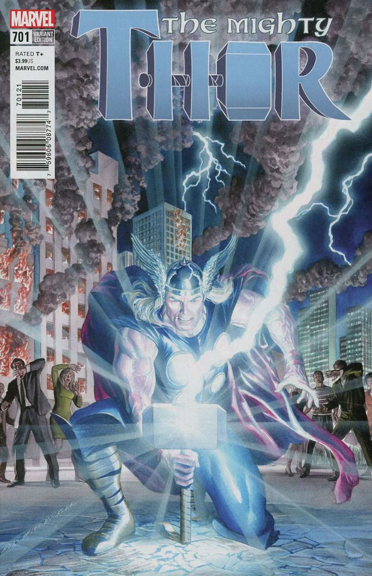 COMIC BOOK: The Mighty Thor # 701 Vol III (Cover B Incentive Variant). PUBLISHER: Marvel Comics. WRITER(S) Jason Aaron. ARTIST: James Harren. COVER ARTIST: Alex Ross. ORIGINAL RELEASE DATE: 11 / 15 / 2017. COVER PRICE: $3.99. RATING: Teen +.