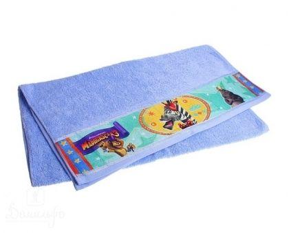 Купить полотенце детское с бордюром МАДАГАСКАР Марти голубое 50х90 от производителя Непоседа (Россия)