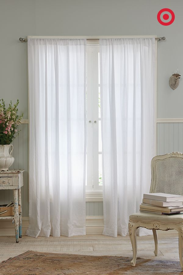 dobby stripe sheer curtain panel true white simply shabby chic sheer curtains shabby chic. Black Bedroom Furniture Sets. Home Design Ideas
