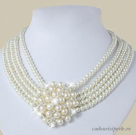 Colierul Five Stars-Colierul este impresionant: cinci randuri de perle albe de 6-8 mm, prinse cu o brosa pentru un efect extraordinar. Brosa este detasabila, poate fi purtata in fata, in lateralul colierului sau poate fi scoasa si purtata ca si accesoriu de par, pe esarfa, pe poseta sau pe haina. Este un colier foarte versatil, care poate fi modificat pentru a fi purtat in toate ocaziile. Marimea este reglabila.