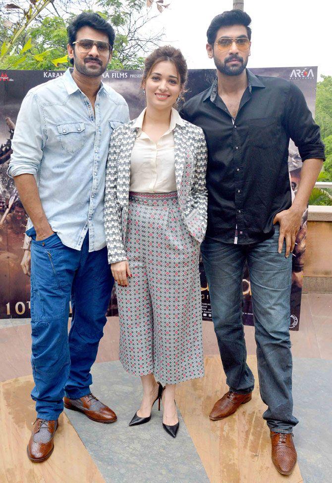 Prabhas, Tamannaah Bhatia and Rana Daggubati at a promotional event for 'Baahubali' - #Baahubali. #Tollywood #Fashion #Style #Beauty #Handsome