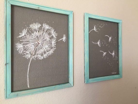 Old window Screen Wood Frame  DandelionSet of by RebecaFlottArts