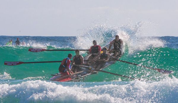 George Bass Marathon Surf Boat Race from Batemans Bay to Eden. This photo at Narooma Surf Beach.
