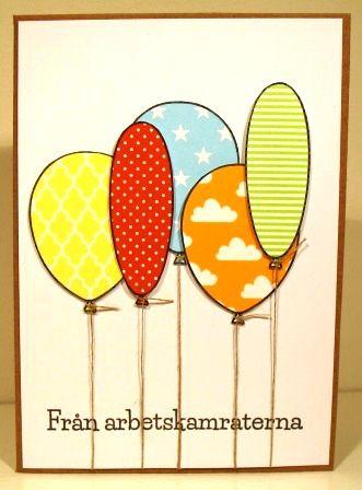 Ett kort med paper-piecade ballonger. Både stämplar och papper kommer från Gummiapan