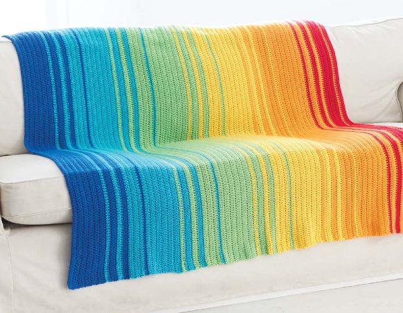 Crochet Spectrum Afghan (free crochet pattern) --- http://www.yarnspirations.com/spectrum-afghan.html