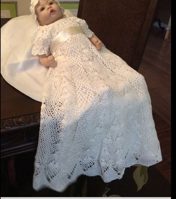 A crochet christening gown and bonnet baby pattern for the serious crochet maker. This pattern will take a good 2-3 weeks to complete working on