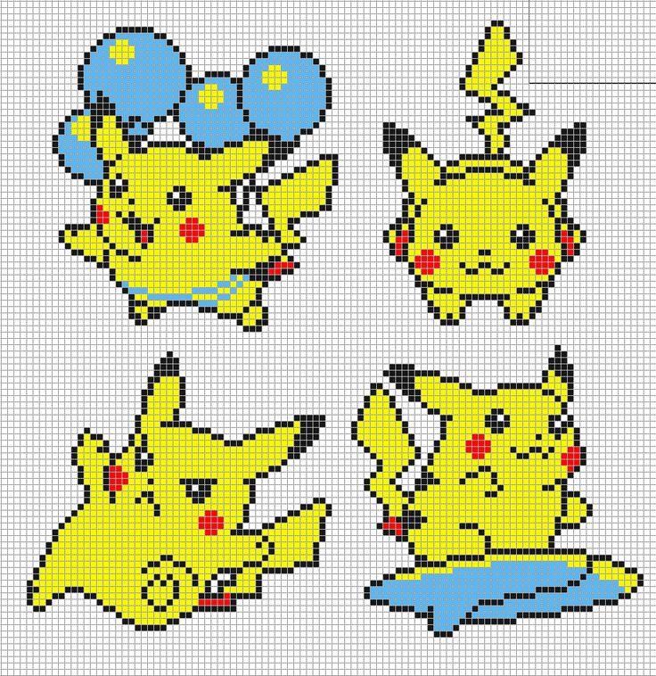 8 bit Pikachu- Pokemon Yellow Cross stitch Idea