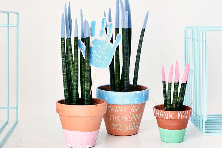Il est temps de remercier les puéricultrices de la crèche ? Offrez-leur des fleurs fabriquées par votre enfant. Pots, peinture et craies de différentes couleurs, bâtonnets en bois, et voilà un joli pot de fleurs pour un souvenir impérissable !
