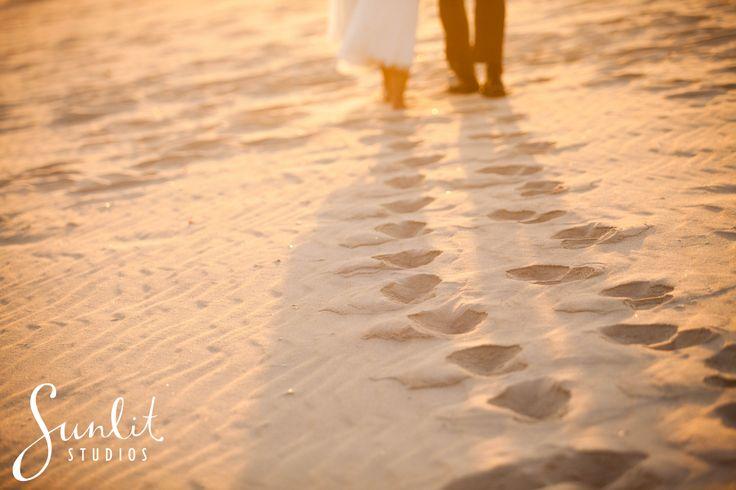 Beach Photo idea, Footprints in the sand, Bride and Groom footprints