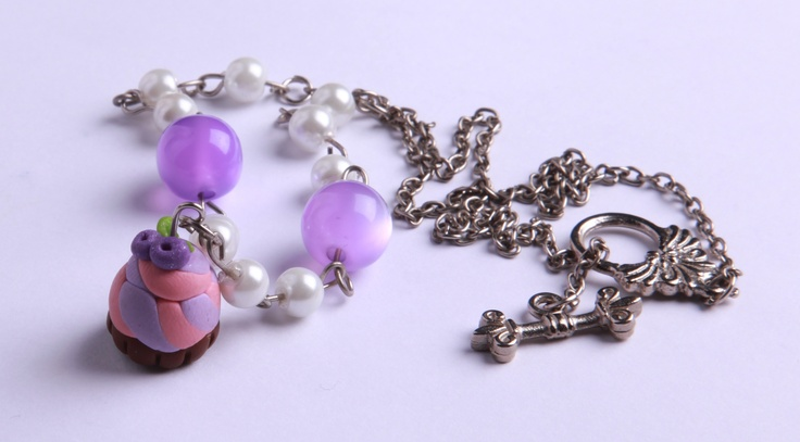 """Polymer Clay """"Pearly Cupcake"""" necklace by milk+biscuit, $13"""