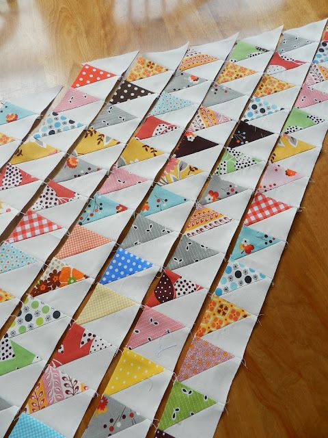 Half square triangle quilts. Great for scraps! waste not!