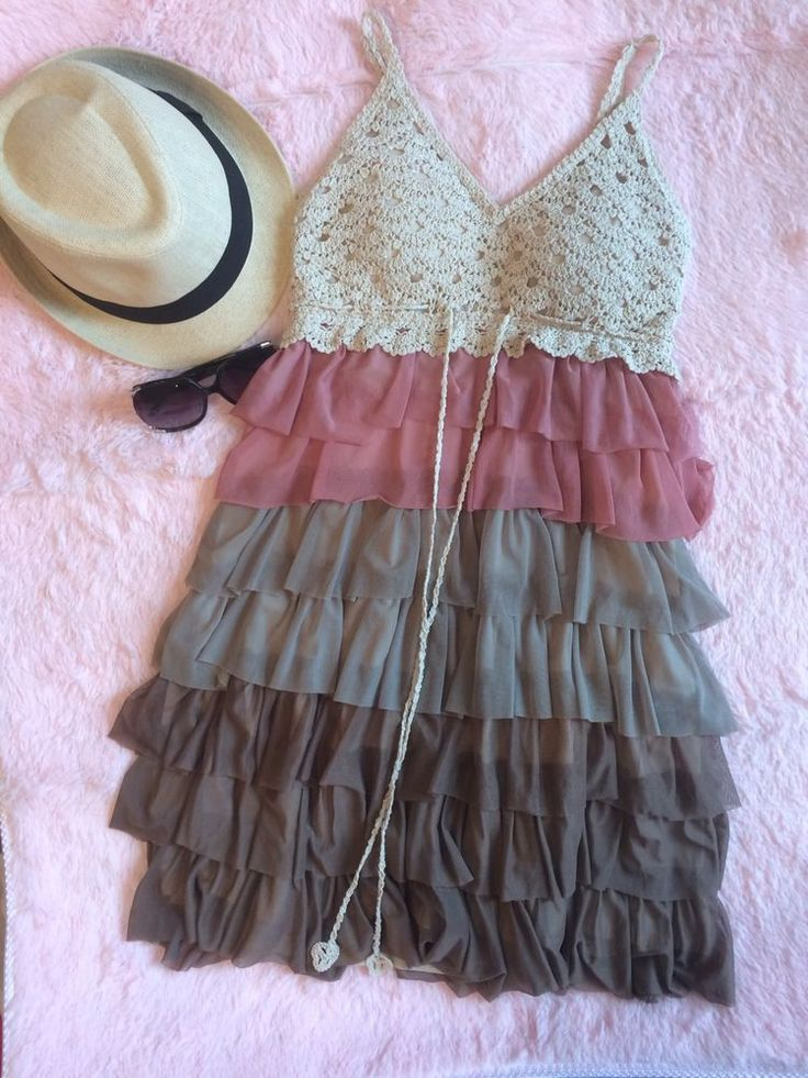 Chesley Strap Ruffle Crochet Multi Color Womens Sun Dress Junior Size M #Chesley #Sundress