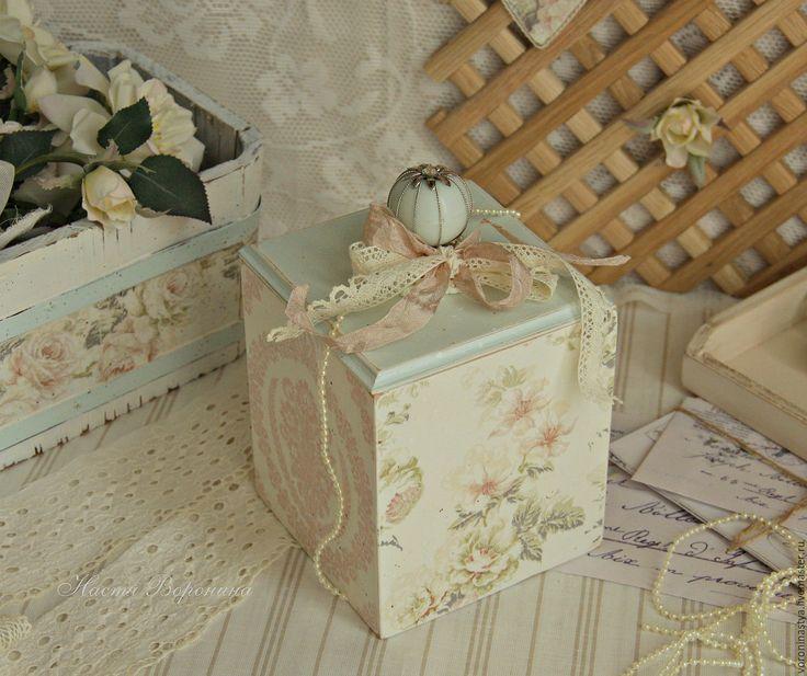 Купить Коробочка Мята - Декупаж, шкатулка, короб для сыпучих, винтаж, коробка, шебби-шик, прованс