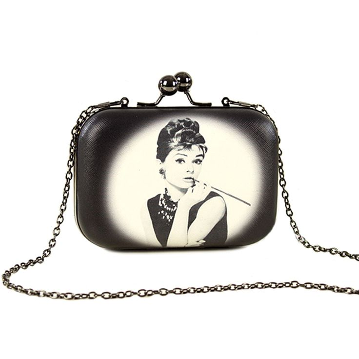 Vintage Women Evening Clutch Bags Flowers Audrey Hepburn Cartoon Printing Hand Bag Mini Leather Clip Brand Party Purse  #handbag #eveningbag #eveningclutch #partybag