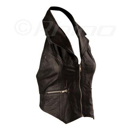 Leather Collared Halterneck