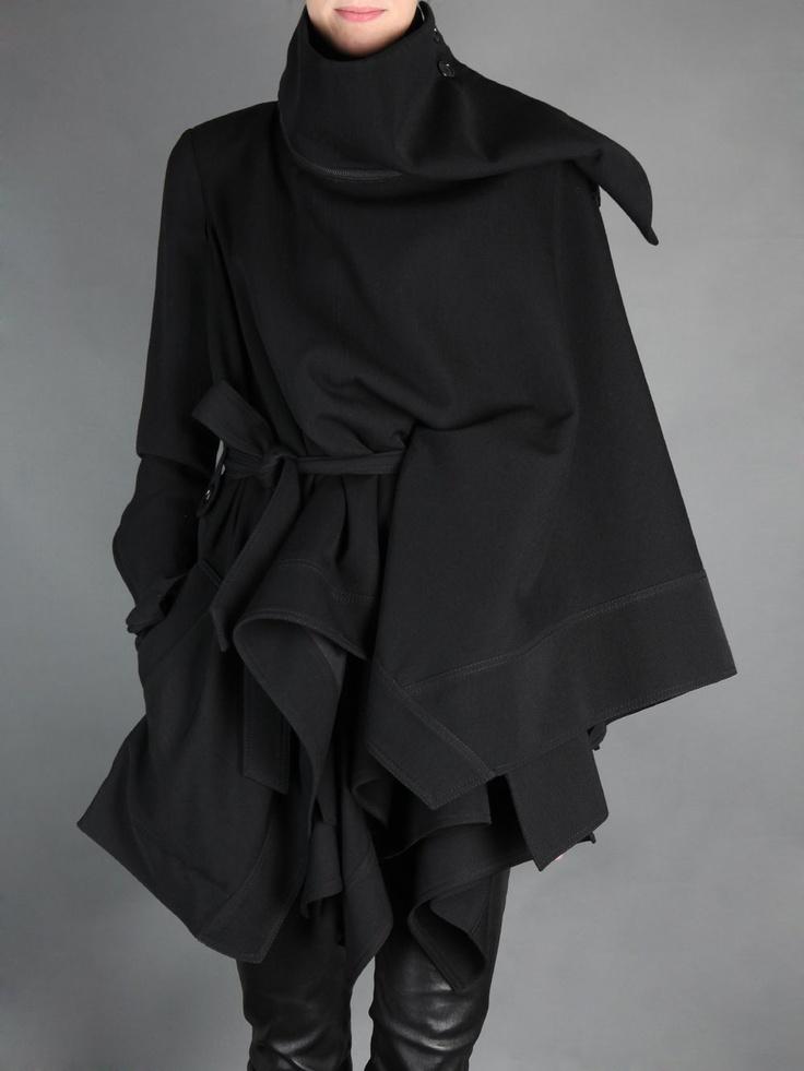 Ann Demeulemeester  __ asymmetric long draped wool jacket with detachable high collar & belt closure. zip detail along sleeves & neckline