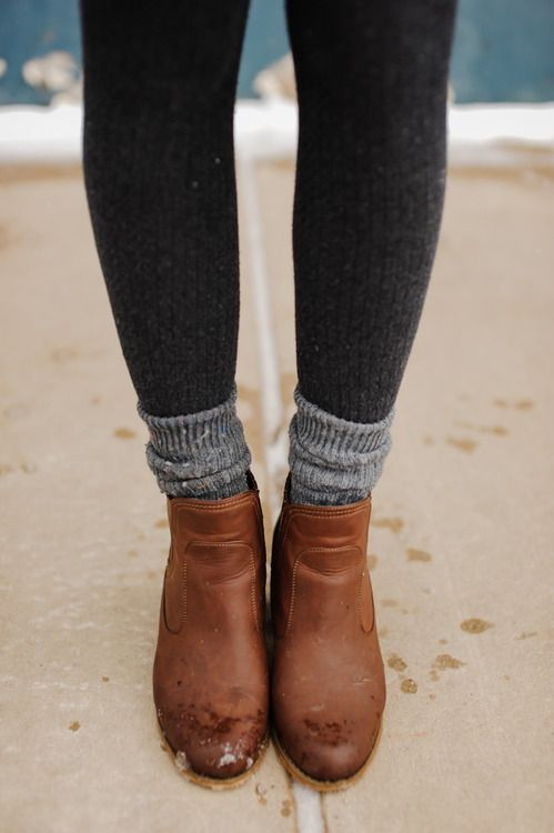 Trying to stay warm ... Ankle boots + socks + tights (+ skirt/denim dress maybe?)