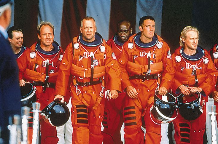 """Armageddon"" movie still, 1998.  L to R: Steve Buscemi, Will Patton, Bruce Willis, Michael Clarke Duncan, Ben Affleck, Owen Wilson."