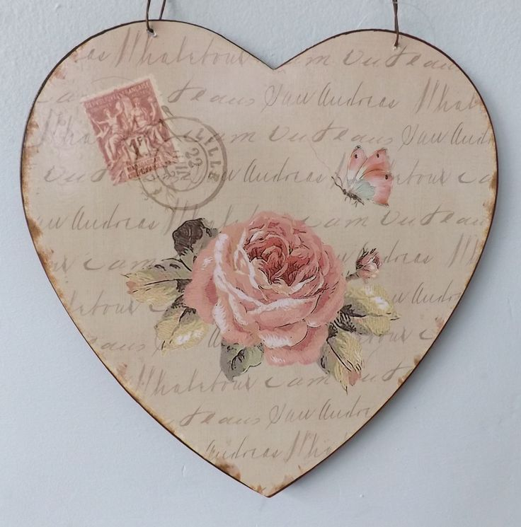 shabby chic heart magnet | Shabby Vintage French Chic Tin Plaque Lille Pink Rose Butterfly Metal ...
