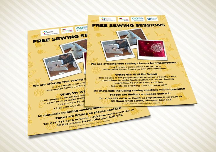 SEWING SESSIONS – Intermediate level for Free Sewing Sessions flyer or leaflets for Cook Grow Sew and Change and WSREC. #flyers #leaflets #printouts #sewing #sewingsessions #sessions #cook #grow #sew