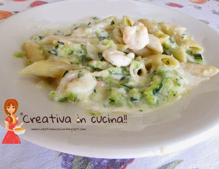 Penne zucchine e gamberetti con panna, per la ricetta >> http://creativaincucina.blogspot.it/2015/04/penne-zucchine-e-gamberetti-con-panna.html Penne with zucchini and shrimp cream, the recipe >> http://creativaincucina.blogspot.it/2015/04/penne-zucchine-e-gamberetti-con-panna.html