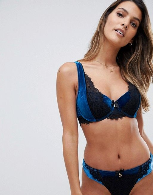 9244915686 Hunkemoller Douten s Stories Allusion velour lace padded bra in blue ...