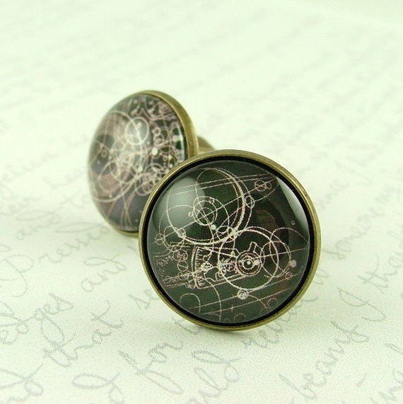 Gallifreyan Time Lord Cufflinks - Time Travelling Steampunk Geekery