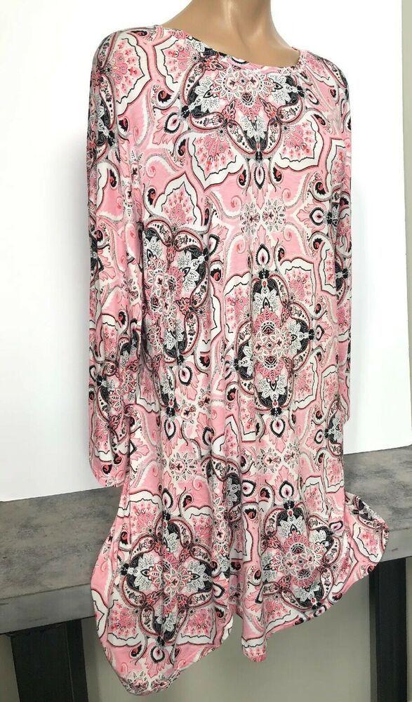 352d9452f4be04 Ellen Tracy Pink Black & White Paisley Shirt Top Or Dress Sz 1X Excellent!