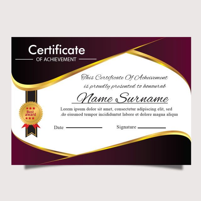 شهادة نموذج أريكة الذهب جائزة متعددة الأغراض أو دبلوم التخرج Certificate Templates Certificate Of Recognition Template Certificate Design Template
