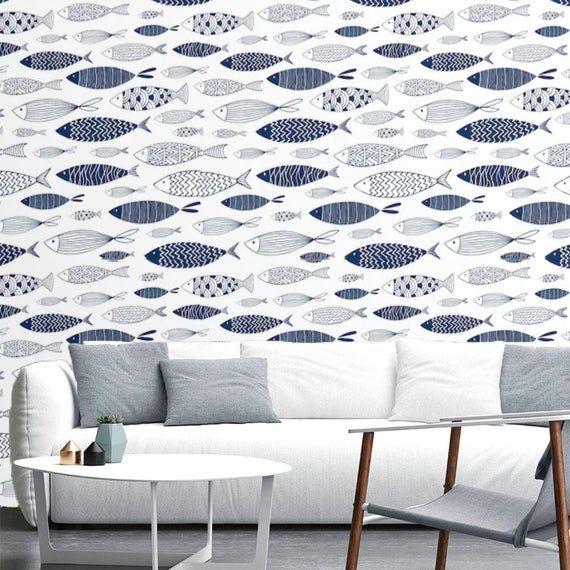 Nautical Wallpaper Peel and Stick Wallpaper Fish Wall ...