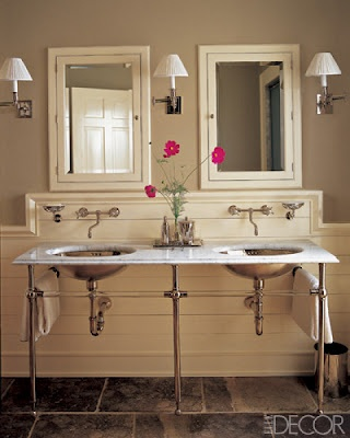 Double sinks, beautiful fittings from Waterworks and the walls are Farrow & Ball's Stony Ground.  Perfect! (Lou Marrotta, Elle Decor, June 2005)