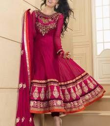 Buy Ethnic deep pink color semi stitched anarkali suit anarkali-salwar-kameez online