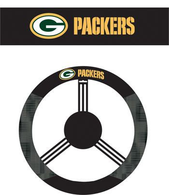 The Green Bay Packers Steering Wheel Cover shows your Packers pride in you car or truck.