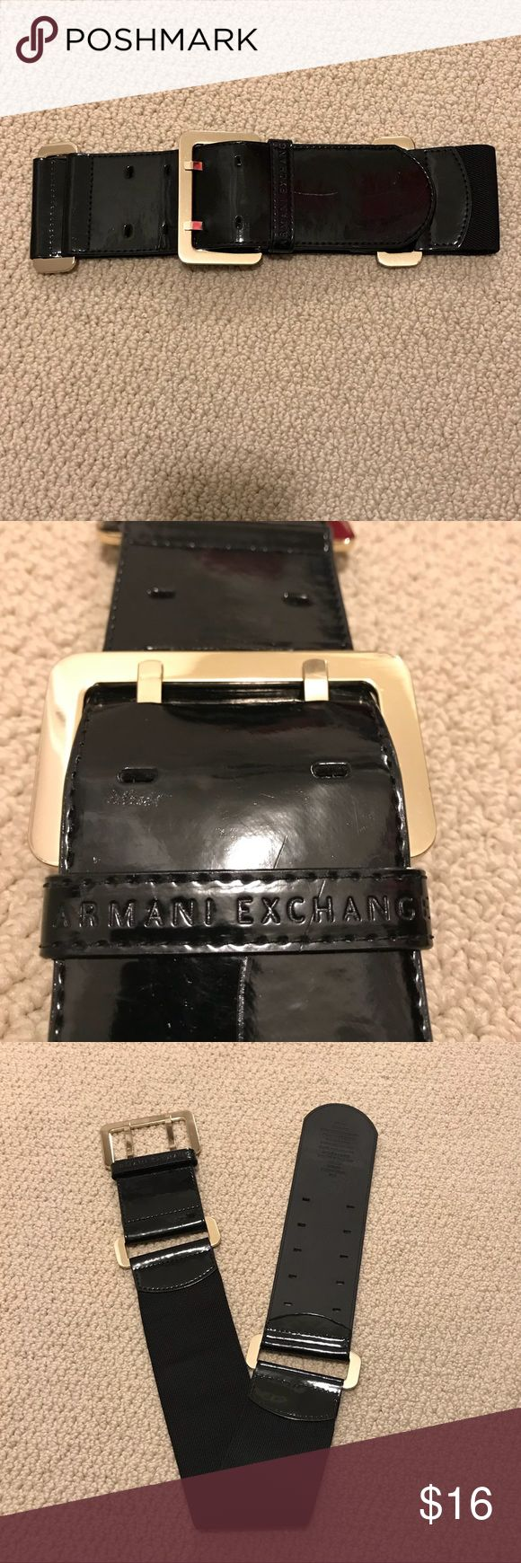 Armani Exchange Liquid Leather Belt Three inches thick to layer over a dress or cardigan for an hourglass chic look! Shiny gold buckle and accenting on liquid leather. Smoke free home. Sold to raise money for family member with cancer ❤️ A/X Armani Exchange Accessories Belts