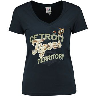 Women's Detroit Tigers Majestic Navy Memorial Day On a Path V-Neck T-Shirt