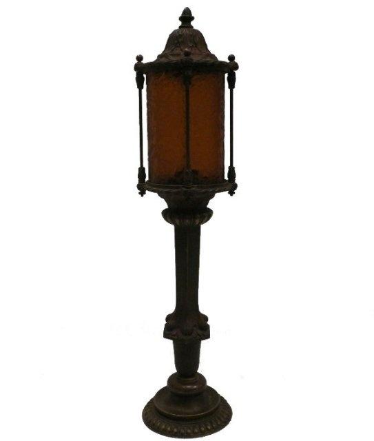 Stair Post Light: Art Nouveau Newel Post Lamp