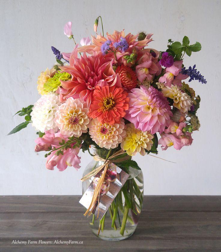 Specialty flowers grown at Alchemy Farm on Salt Spring Island and custom designed as a floral gift. #flowerfarmer #flowerfarmerdesigner #localflowers #birthdayflowers #celebration-flowers