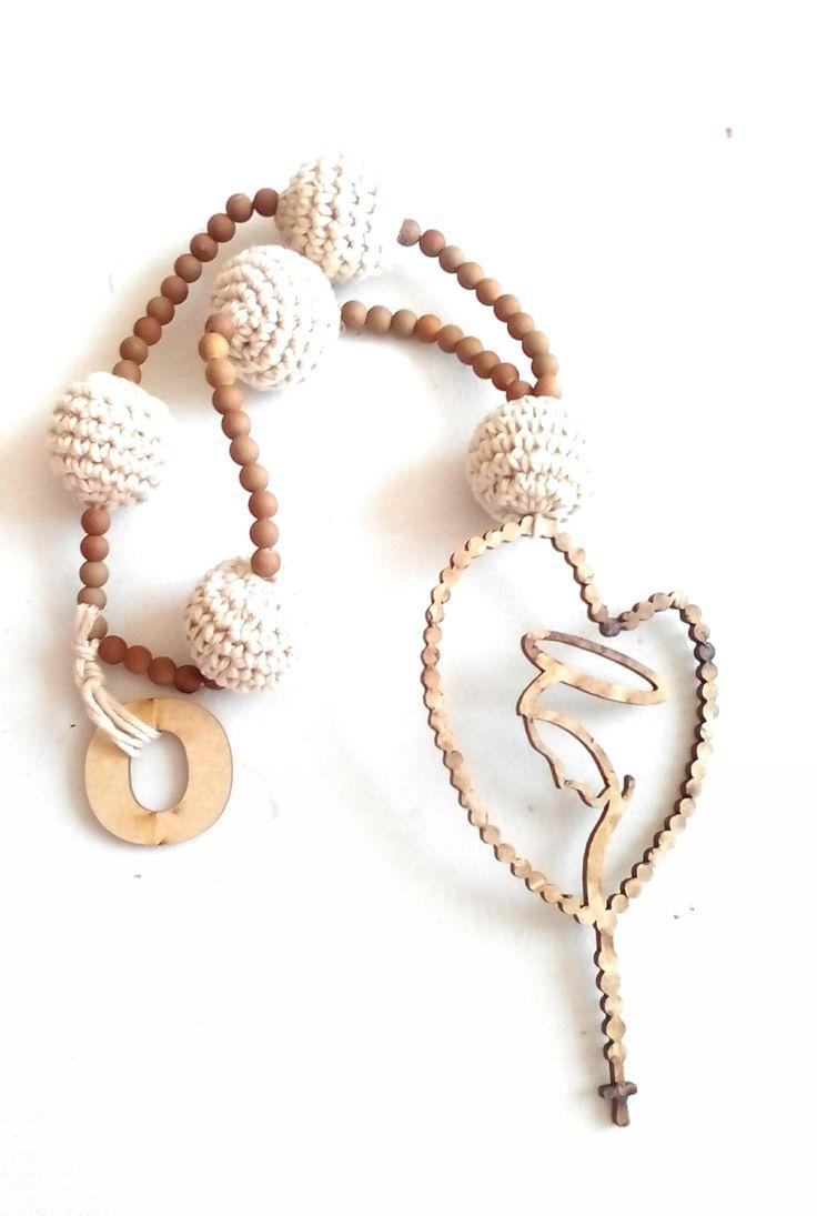 Forma De Corazón De Madera Cuentas de Madera /'Prenses/' hágalo usted mismo collar Accesorios hacen 21 mm