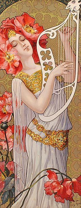 Art Nouveau color lithograph Le réveil du jour with image of harp-playing design lady Mary Golay 1869-1944 England c.1900