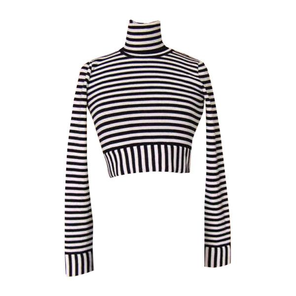 Dolce&gabbana Top Cropped Striped Long Sleeve Black And White Vintage... ($445) ❤ liked on Polyvore featuring tops, cut-out crop tops, black and white top, black white striped top, stripe top and cropped tops